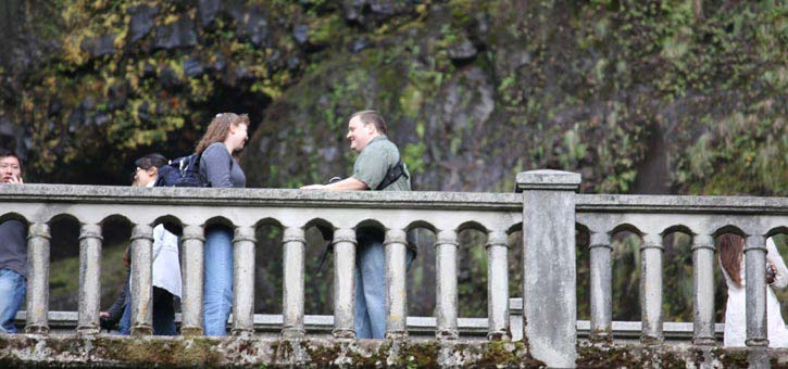 Sean Proposing to Julie at Multnomah Falls in Oregon
