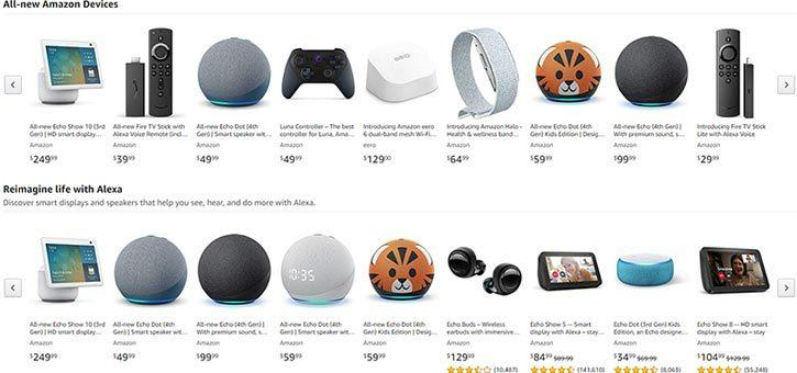 A wide array of Amazon Alexa devices.