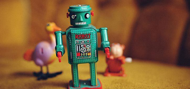 A tin robot toy.