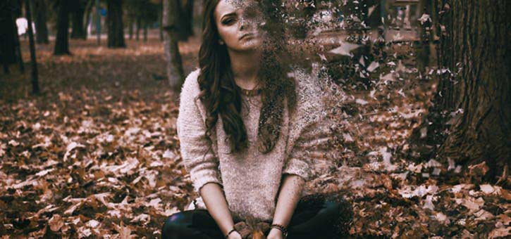 A young woman with Depression seeming to vanish.