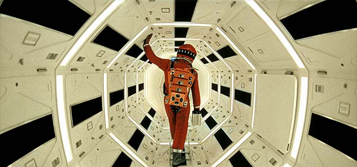 Dave walks through the corridor of the Sentinel in 2001: A Space Odysseythe