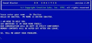 A screenshot of Dr. Sbaitso