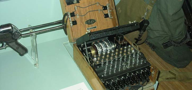 The Enigma Machine on display in a museum.