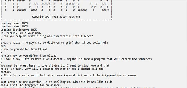 Example chat with the MegaHAL version of the HeX chatbot.
