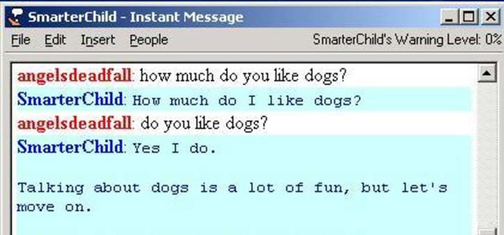 SmarterChild talking with another user on AIM.