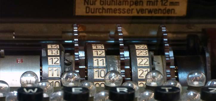 A closeup of the settings of the Enigma Machine.