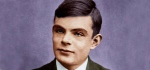 A portrait of Alan Turing, the developer of the Turing Test.