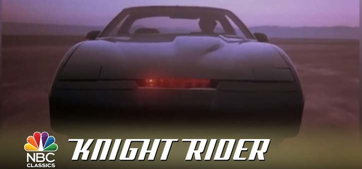 A screengrab from the Knight Rider opening featuring KITT.