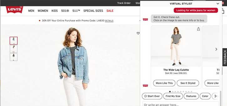 The Levi's Virtual Stylist offers an improved online shopping experience by helping customers find what they need faster and easier, it's also quite fun to interact with.