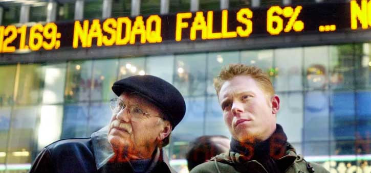 Workers in New York watch as stocks tumble during the Dot.com Bubble Burst.